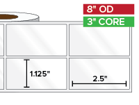 Rectangular Labels, High Gloss White Paper | 1.125 x 2.5 inches, 2-UP | 3 in. core, 8 in. outside diameter