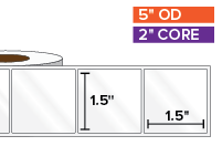 Rectangular Labels, High Gloss White Paper | 1.5 x 1.5 inches | 2 in. core, 5 in. outside diameter