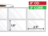 Rectangular Labels, High Gloss White Paper | 1.5 x 2.5 inches, 2-UP | 3 in. core, 8 in. outside diameter