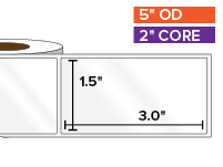 Rectangular Labels, High Gloss White Paper | 1.5 x 3 inches | 2 in. core, 5 in. outside diameter