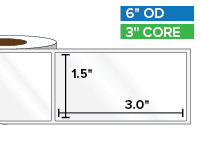 Rectangular Labels, High Gloss White Paper | 1.5 x 3 inches | 3 in. core, 6 in. outside diameter