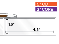 Rectangular Labels, High Gloss White Paper | 1.5 x 4.5 inches | 2 in. core, 5 in. outside diameter