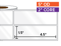 Rectangular Labels, High Gloss White Paper | 1.5 x 4.5 inches, 2-UP | 2 in. core, 5 in. outside diameter