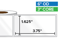 Rectangular Labels, High Gloss White Paper | 1.625 x 3.75 inches | 3 in. core, 6 in. outside diameter