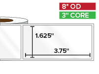 Rectangular Labels, High Gloss White Paper | 1.625 x 3.75 inches | 3 in. core, 8 in. outside diameter