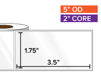 Rectangular Labels, High Gloss White Paper | 1.75 x 3.5 inches | 2 in. core, 5 in. outside diameter