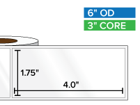 Rectangular Labels, High Gloss White Paper | 1.75 x 4 inches | 3 in. core, 6 in. outside diameter