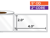 Rectangular Labels, High Gloss White Paper | 2 x 4 inches | 2 in. core, 5 in. outside diameter