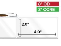 Rectangular Labels, High Gloss White Paper | 2 x 4 inches | 3 in. core, 8 in. outside diameter