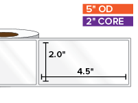 Rectangular Labels, High Gloss White Paper | 2 x 4.5 inches | 2 in. core, 5 in. outside diameter