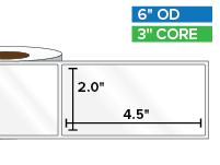 Rectangular Labels, High Gloss White Paper | 2 x 4.5 inches | 3 in. core, 6 in. outside diameter