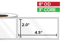 Rectangular Labels, High Gloss White Paper | 2 x 4.5 inches | 3 in. core, 8 in. outside diameter