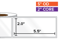 Rectangular Labels, High Gloss White Paper | 2 x 5.5 inches | 2 in. core, 5 in. outside diameter