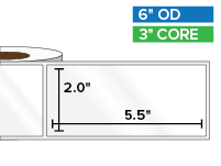 Rectangular Labels, High Gloss White Paper | 2 x 5.5 inches | 3 in. core, 6 in. outside diameter