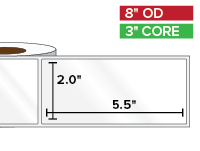 Rectangular Labels, High Gloss White Paper | 2 x 5.5 inches | 3 in. core, 8 in. outside diameter