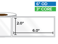 Rectangular Labels, High Gloss White Paper | 2 x 6 inches | 3 in. core, 6 in. outside diameter