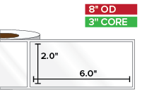 Rectangular Labels, High Gloss White Paper | 2 x 6 inches | 3 in. core, 8 in. outside diameter