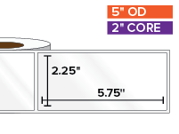 Rectangular Labels, High Gloss White Paper | 2.25 x 5.75 inches | 2 in. core, 5 in. outside diameter