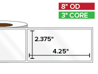 Rectangular Labels, High Gloss White Paper | 2.375 x 4.25 inches | 3 in. core, 8 in. outside diameter