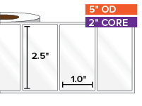 Rectangular Labels, High Gloss White Paper | 2.5 x 1 inches | 2 in. core, 5 in. outside diameter