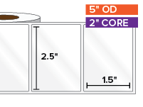 Rectangular Labels, High Gloss White Paper | 2.5 x 1.5 inches | 2 in. core, 5 in. outside diameter