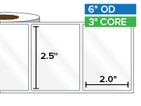 Rectangular Labels, High Gloss White Paper | 2.5 x 2 inches | 3 in. core, 6 in. outside diameter