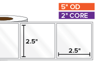Rectangular Labels, High Gloss White Paper | 2.5 x 2.5 inches | 2 in. core, 5 in. outside diameter