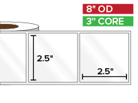 Rectangular Labels, High Gloss White Paper | 2.5 x 2.5 inches | 3 in. core, 8 in. outside diameter