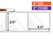 Rectangular Labels, High Gloss White Paper | 2.5 x 3 inches | 2 in. core, 5 in. outside diameter