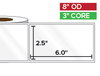 Rectangular Labels, High Gloss White Paper | 2.5 x 6 inches | 3 in. core, 8 in. outside diameter