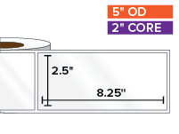 Rectangular Labels, High Gloss White Paper | 2.5 x 8.25 inches | 2 in. core, 5 in. outside diameter