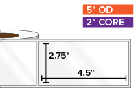 Rectangular Labels, High Gloss White Paper | 2.75 x 4.5 inches | 2 in. core, 5 in. outside diameter