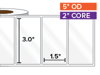 Rectangular Labels, High Gloss White Paper | 3 x 1.5 inches | 2 in. core, 5 in. outside diameter