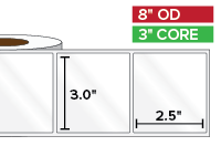 Rectangular Labels, High Gloss White Paper | 3 x 2.5 inches | 3 in. core, 8 in. outside diameter