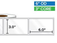 Rectangular Labels, High Gloss White Paper | 3 x 6 inches | 3 in. core, 6 in. outside diameter