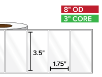 Rectangular Labels, High Gloss White Paper | 3.5 x 1.75 inches | 3 in. core, 8 in. outside diameter
