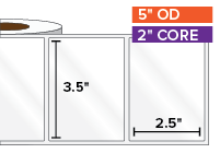 Rectangular Labels, High Gloss White Paper | 3.5 x 2.5 inches | 2 in. core, 5 in. outside diameter