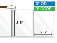 Rectangular Labels, High Gloss White Paper | 3.5 x 2.5 inches | 3 in. core, 6 in. outside diameter