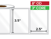 Rectangular Labels, High Gloss White Paper | 3.5 x 2.5 inches | 3 in. core, 8 in. outside diameter