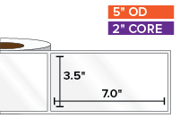 Rectangular Labels, High Gloss White Paper | 3.5 x 7 inches | 2 in. core, 5 in. outside diameter