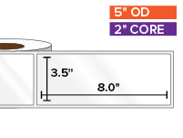 Rectangular Labels, High Gloss White Paper | 3.5 x 8 inches | 2 in. core, 5 in. outside diameter