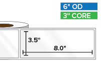 Rectangular Labels, High Gloss White Paper | 3.5 x 8 inches | 3 in. core, 6 in. outside diameter