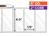 Rectangular Labels, High Gloss White Paper | 4 x 1.5 inches | 2 in. core, 5 in. outside diameter