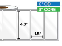 Rectangular Labels, High Gloss White Paper | 4 x 1.5 inches | 3 in. core, 6 in. outside diameter