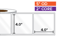 Rectangular Labels, High Gloss White Paper | 4 x 4 inches | 2 in. core, 5 in. outside diameter