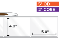 Rectangular Labels, High Gloss White Paper | 4 x 5 inches | 2 in. core, 5 in. outside diameter