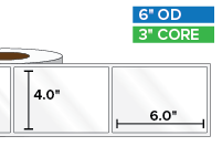 Rectangular Labels, High Gloss White Paper | 4 x 6 inches | 3 in. core, 6 in. outside diameter