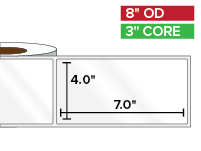 Rectangular Labels, High Gloss White Paper | 4 x 7 inches | 3 in. core, 8 in. outside diameter