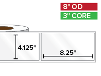 Rectangular Labels, High Gloss White Paper | 4.125 x 8.25 inches | 3 in. core, 8 in. outside diameter
