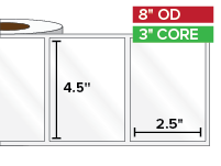 Rectangular Labels, High Gloss White Paper | 4.5 x 2.5 inches | 3 in. core, 8 in. outside diameter